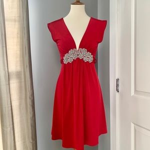 Forever red tunic top dress w/ faux diamond detail